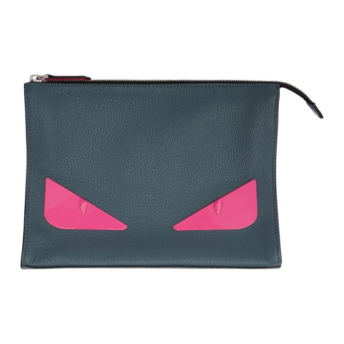 Photo: Fendi Grey and Pink Bag Bugs Pouch