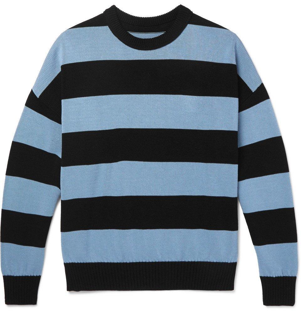 Photo: AMI - Oversized Striped Cotton Sweater - Men - Blue