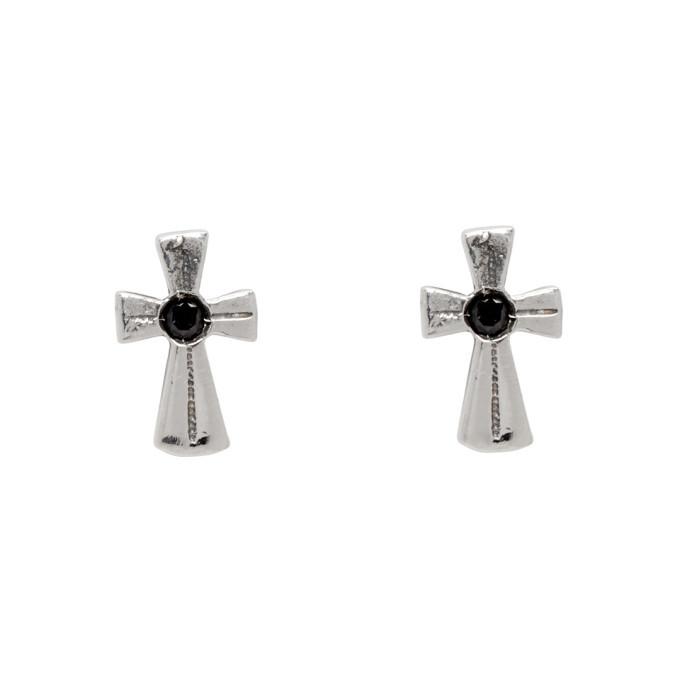 Photo: Luka Sabbat x Monini Silver Baby Cross Line Earrings