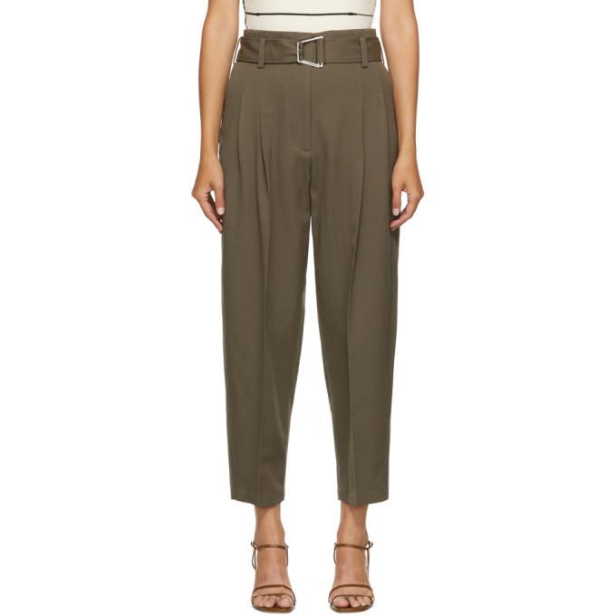 3.1 Phillip Lim Khaki Wool Utility Belt Trousers