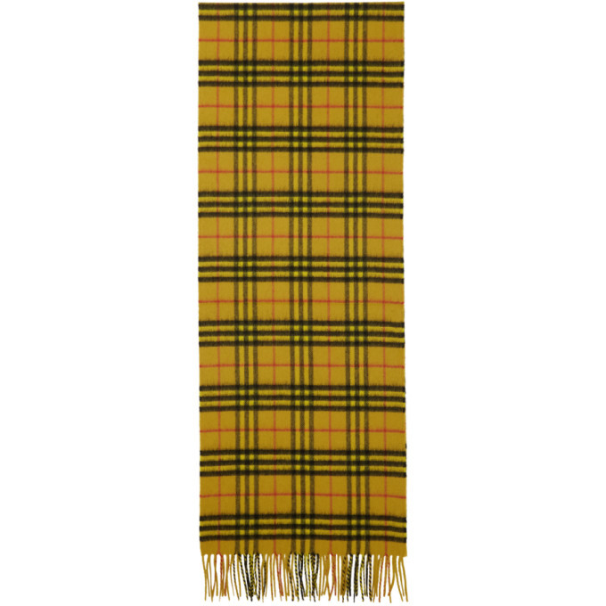 Burberry Yellow Cashmere Vintage Check Scarf