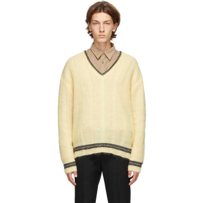 Photo: Solid Homme Yellow Mohair V-Neck Sweater
