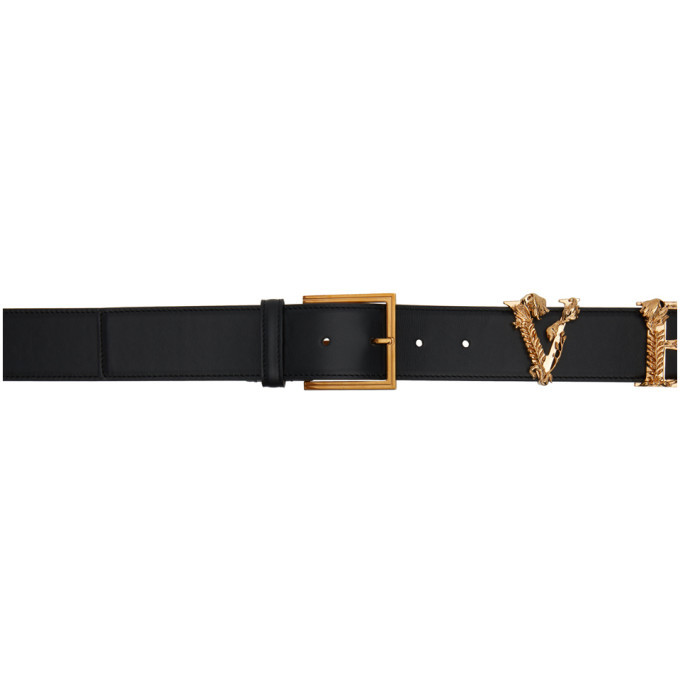Photo: Versace Black and Gold Logo Belt