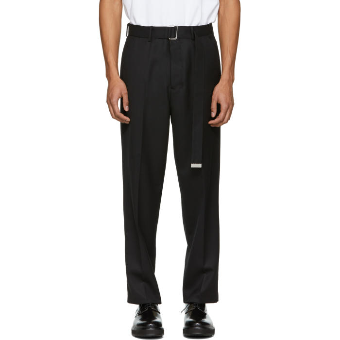 Photo: AMI Alexandre Mattiussi Black Large Belted Trousers