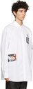 Raf Simons White Fred Perry Edition Oversized Printed Patch Shirt