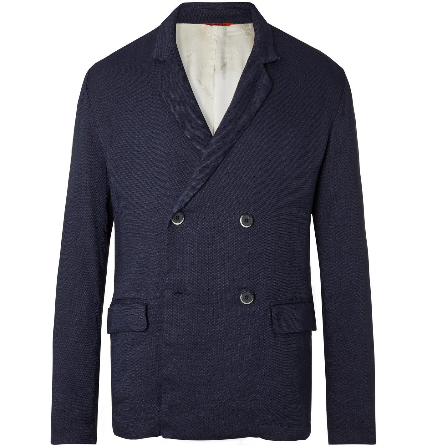 Barena - Unstructured Double-Breasted Stretch Linen-Blend Blazer - Blue