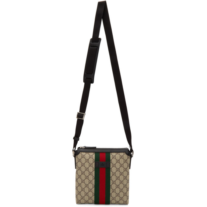 Photo: Gucci Beige GG Supreme Flat Messenger Bag