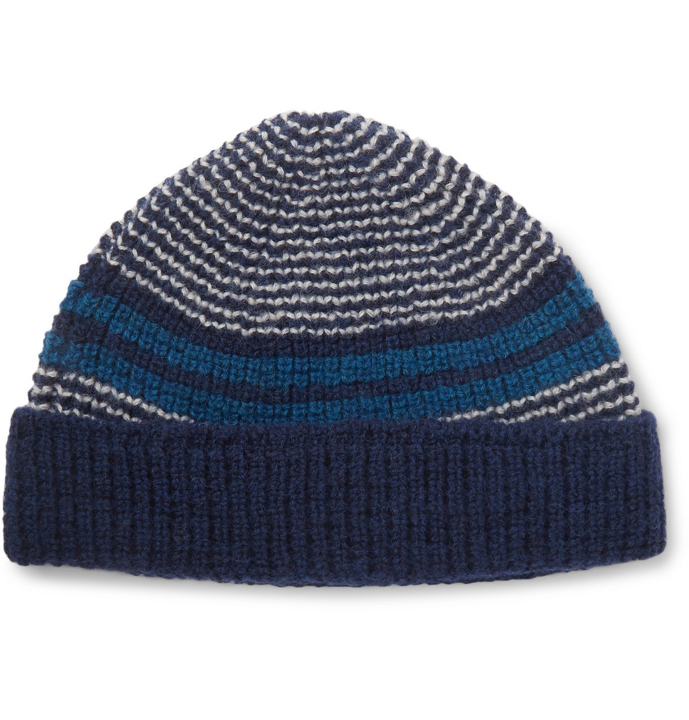 Photo: The Workers Club - Striped Wool Beanie - Blue