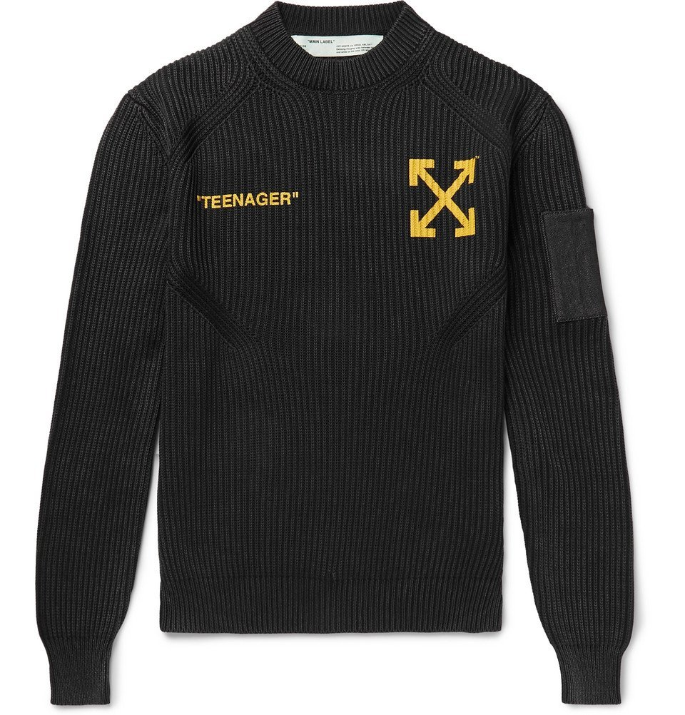 Photo: Off-White - Bart Simpson Printed Ribbed Cotton and Cashmere-Blend Sweater - Men - Black
