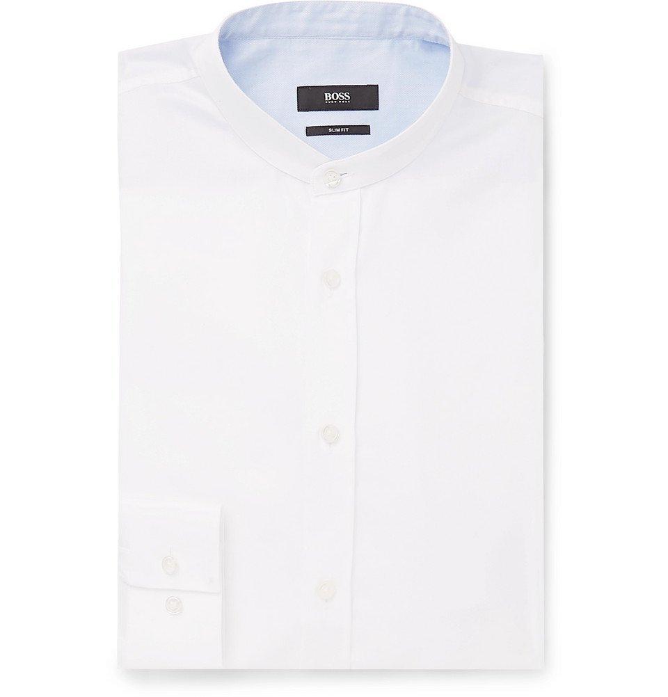 Photo: Hugo Boss - Jowis White Slim-Fit Grandad-Collar Cotton-Piqué Shirt - White