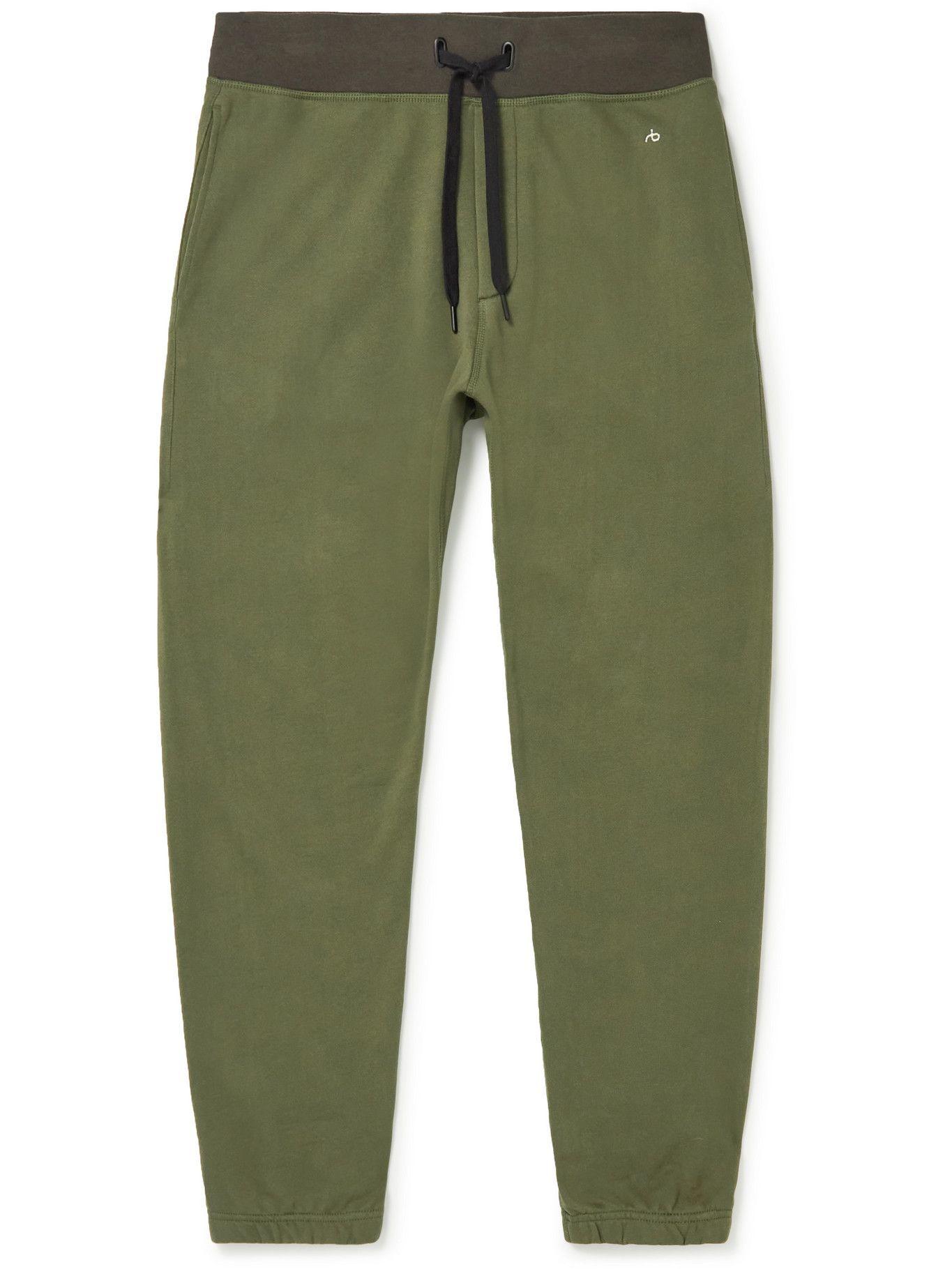 Photo: Rag & Bone - City Prospect Tapered Two-Tone Organic Cotton-Terry Sweatpants - Green