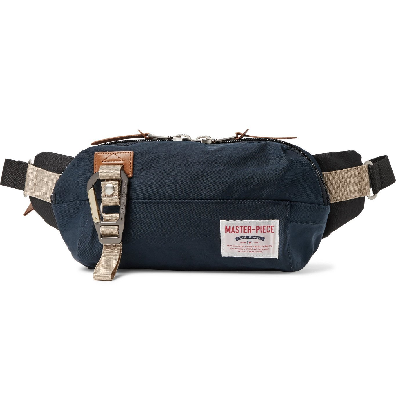 Photo: Master-Piece - Leather-Trimmed Nylon-Twill and Canvas Belt Bag - Blue