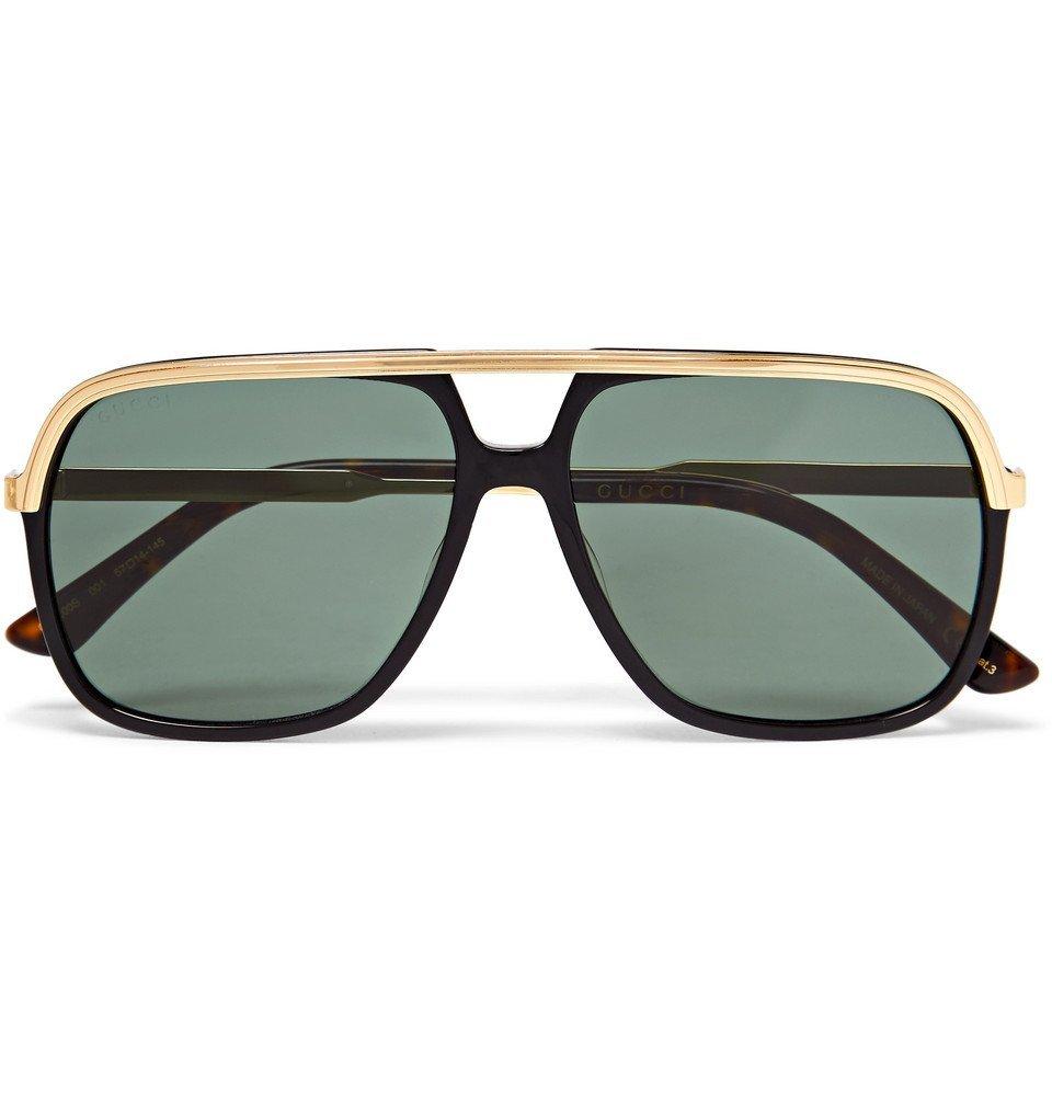 3a781d82981 Gucci - Aviator-Style Acetate and Gold-Tone Sunglasses - Black Gucci