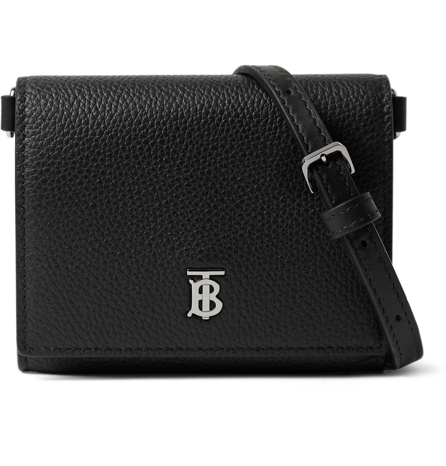 Photo: Burberry - Logo-Detailed Full-Grain Leather Wallet with Lanyard - Black