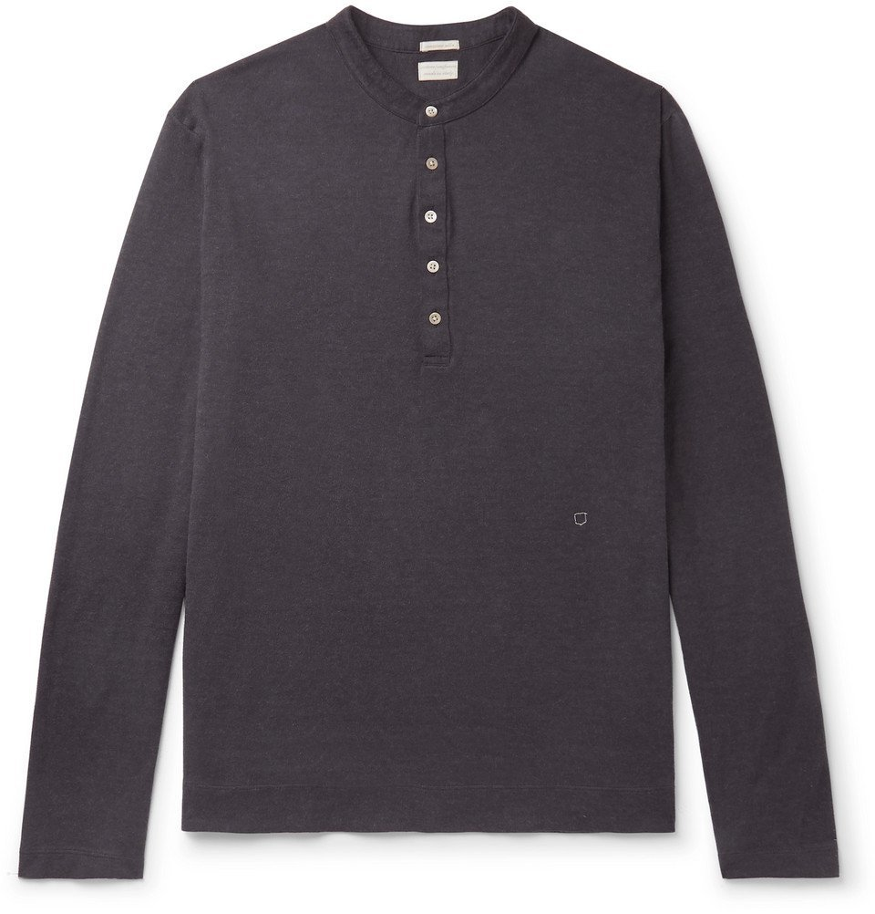 Photo: Massimo Alba - Watercolour-Dyed Cotton and Cashmere-Blend Henley T-Shirt - Navy