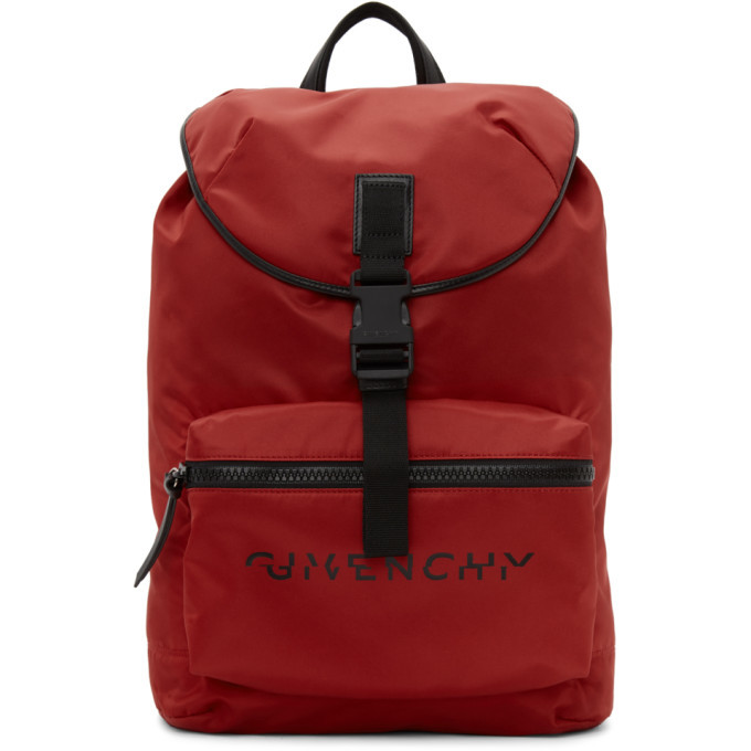 Photo: Givenchy Red Split Logo Packaway Backpack