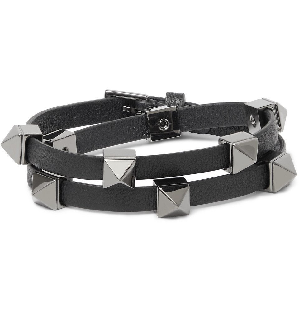 Photo: Valentino - Valentino Garavani Rockstud Leather and Ruthenium Wrap Bracelet - Black