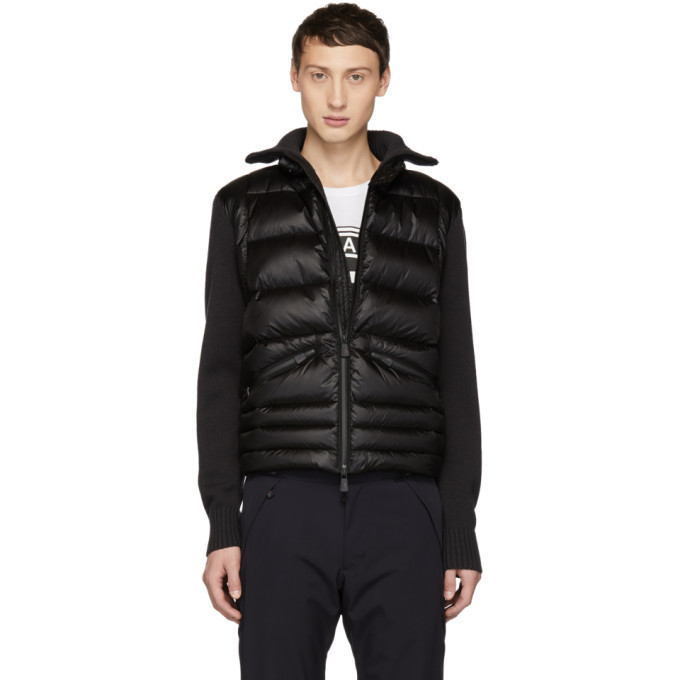 Moncler Grenoble Black Panelled Down and Wool Jacket