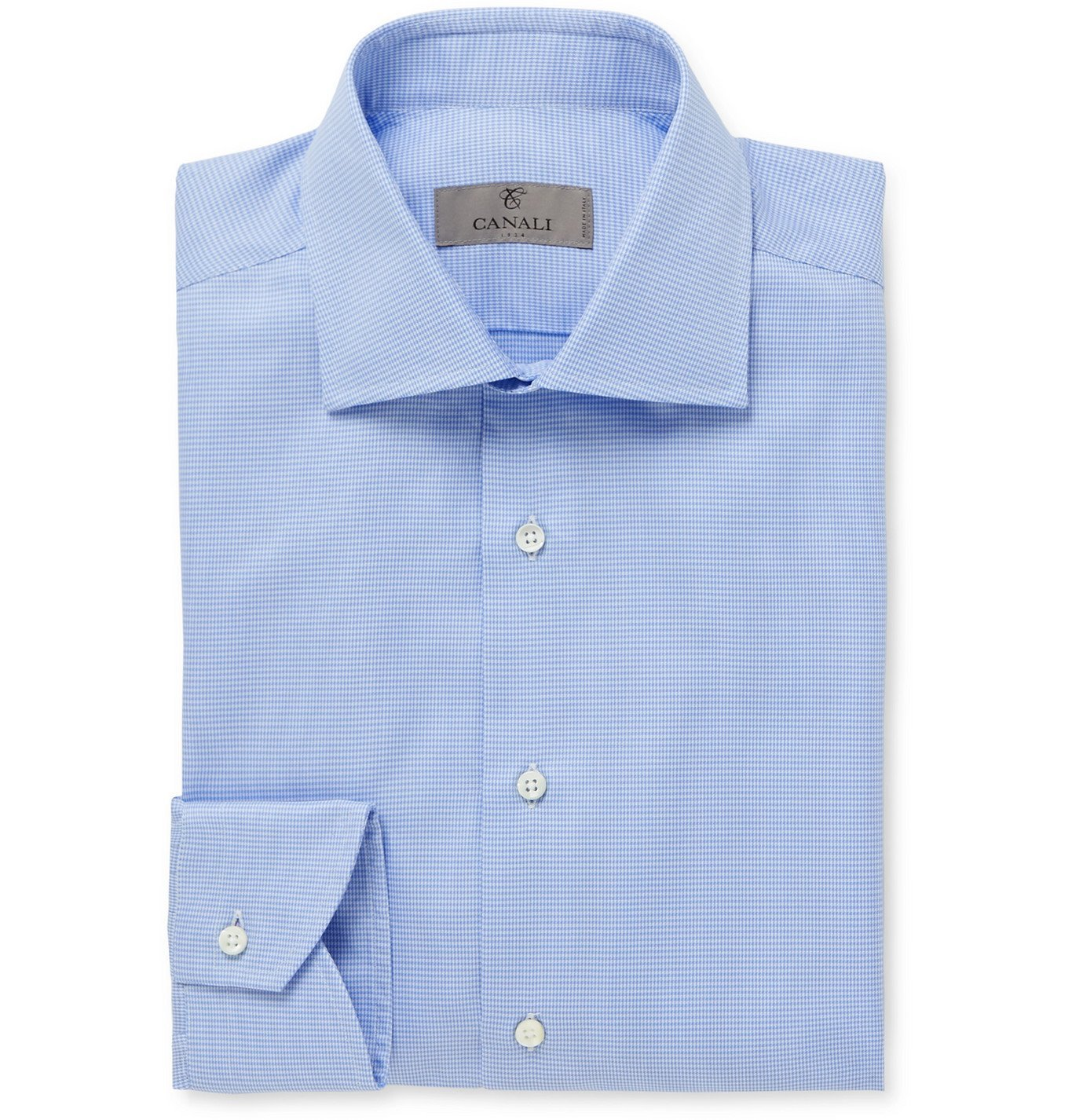 Photo: Canali - Cutaway-Collar Houndstooth Cotton Shirt - Blue