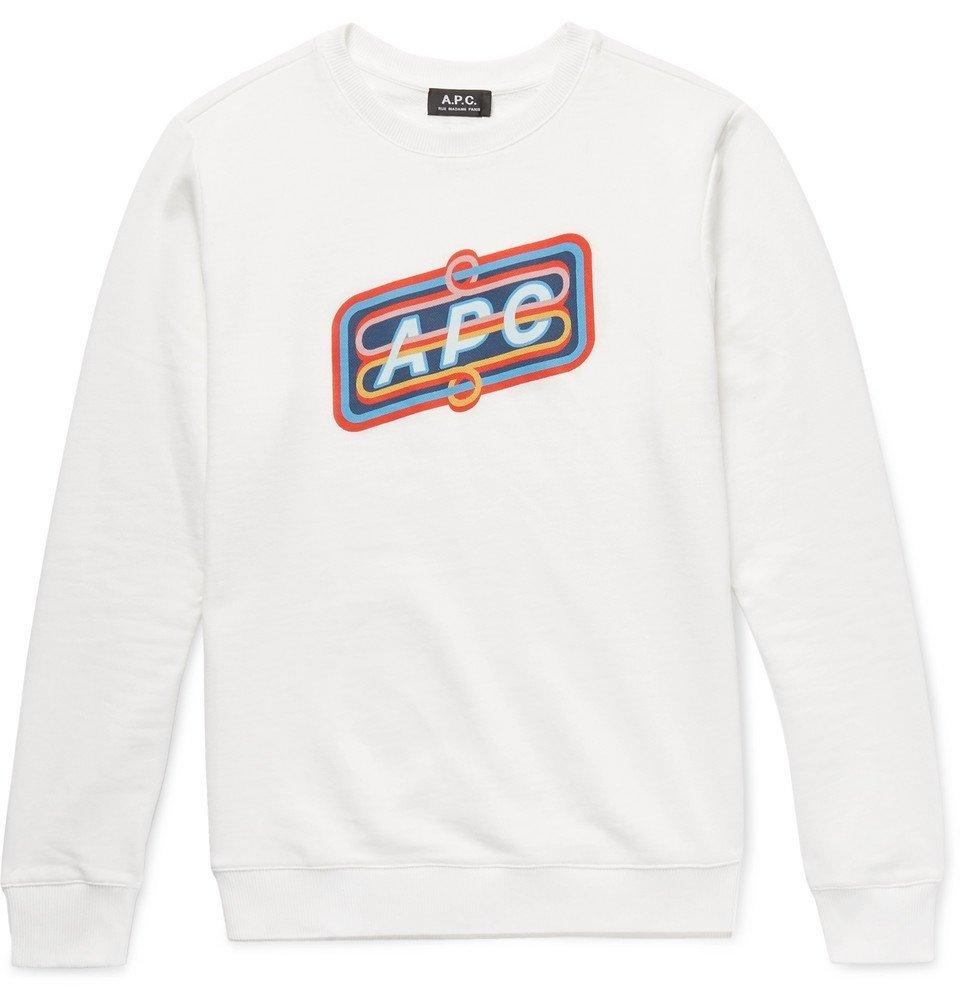 Photo: A.P.C. - Slim-Fit Printed Loopback Cotton-Jersey Sweatshirt - Men - White