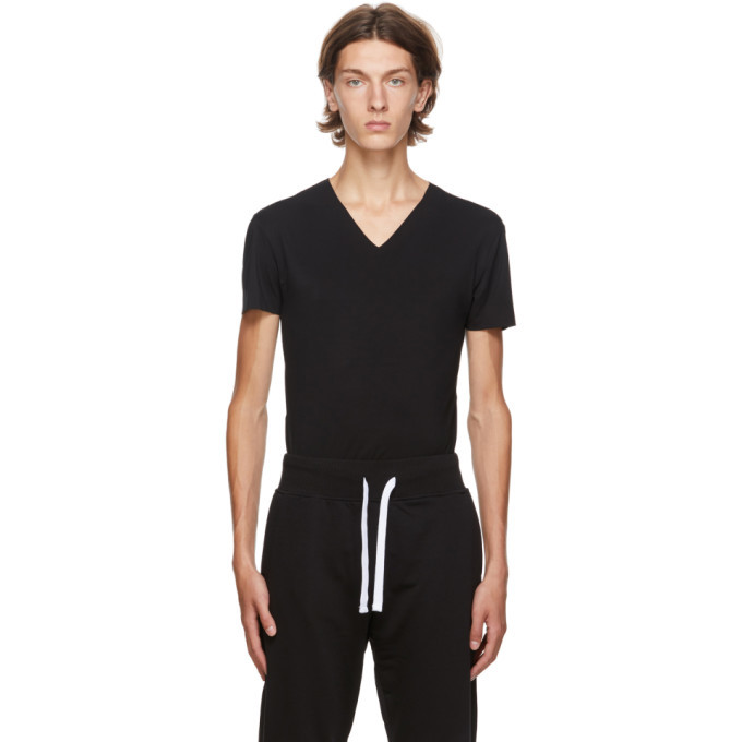 Photo: Ermenegildo Zegna Black V-Neck Seamless T-Shirt