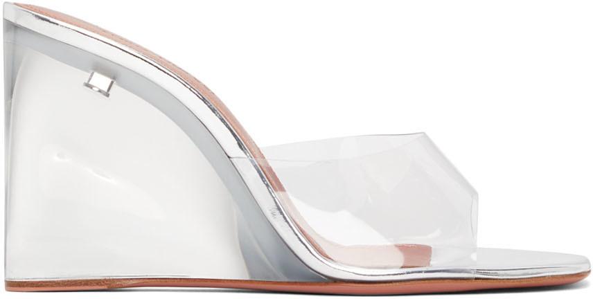 Photo: Amina Muaddi Silver Glass Lupita Wedge Heeled Sandals