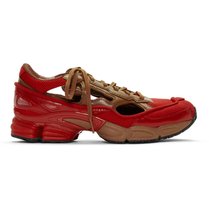Photo: Raf Simons Red and Brown adidas Originals Limited Edition Replicant Ozweego Sneakers Anniversary Pack