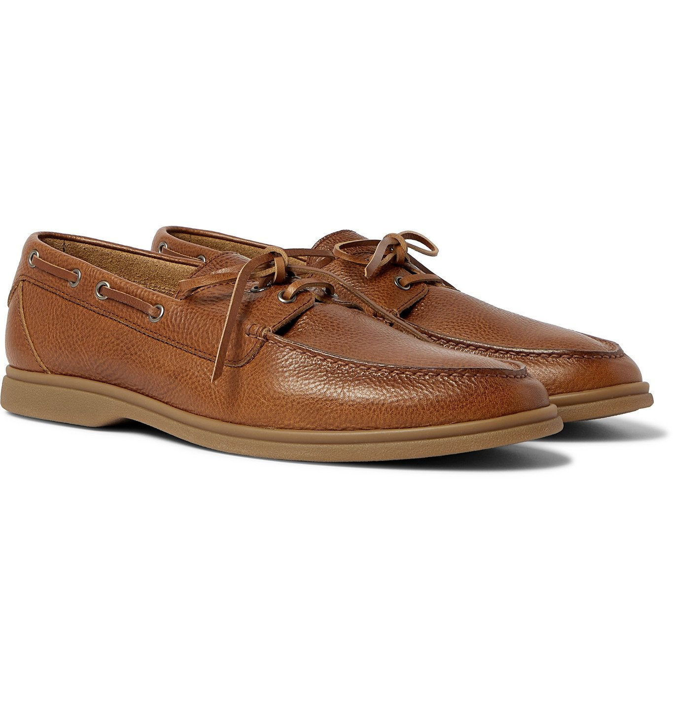 Photo: Brunello Cucinelli - Textured-Leather Boat Shoes - Brown