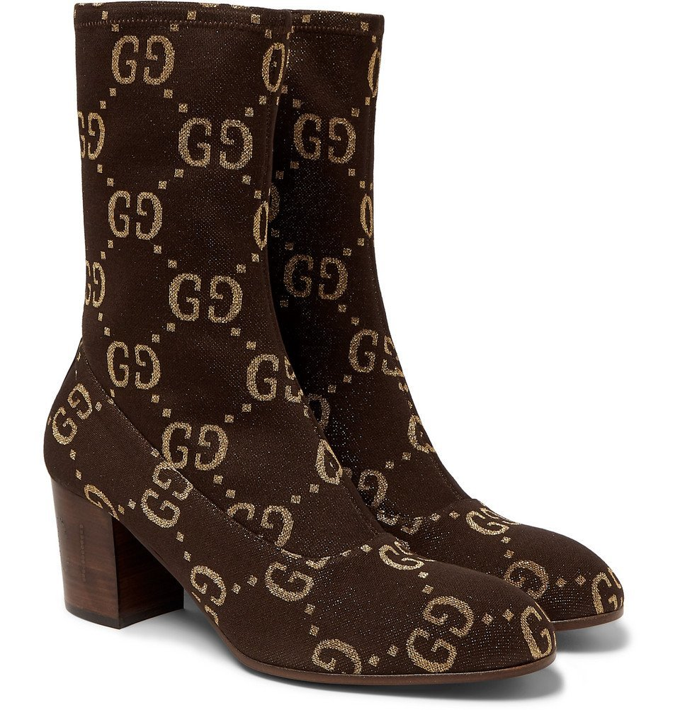 Photo: Gucci - Leather-Trimmed Logo-Jacquard Boots - Brown