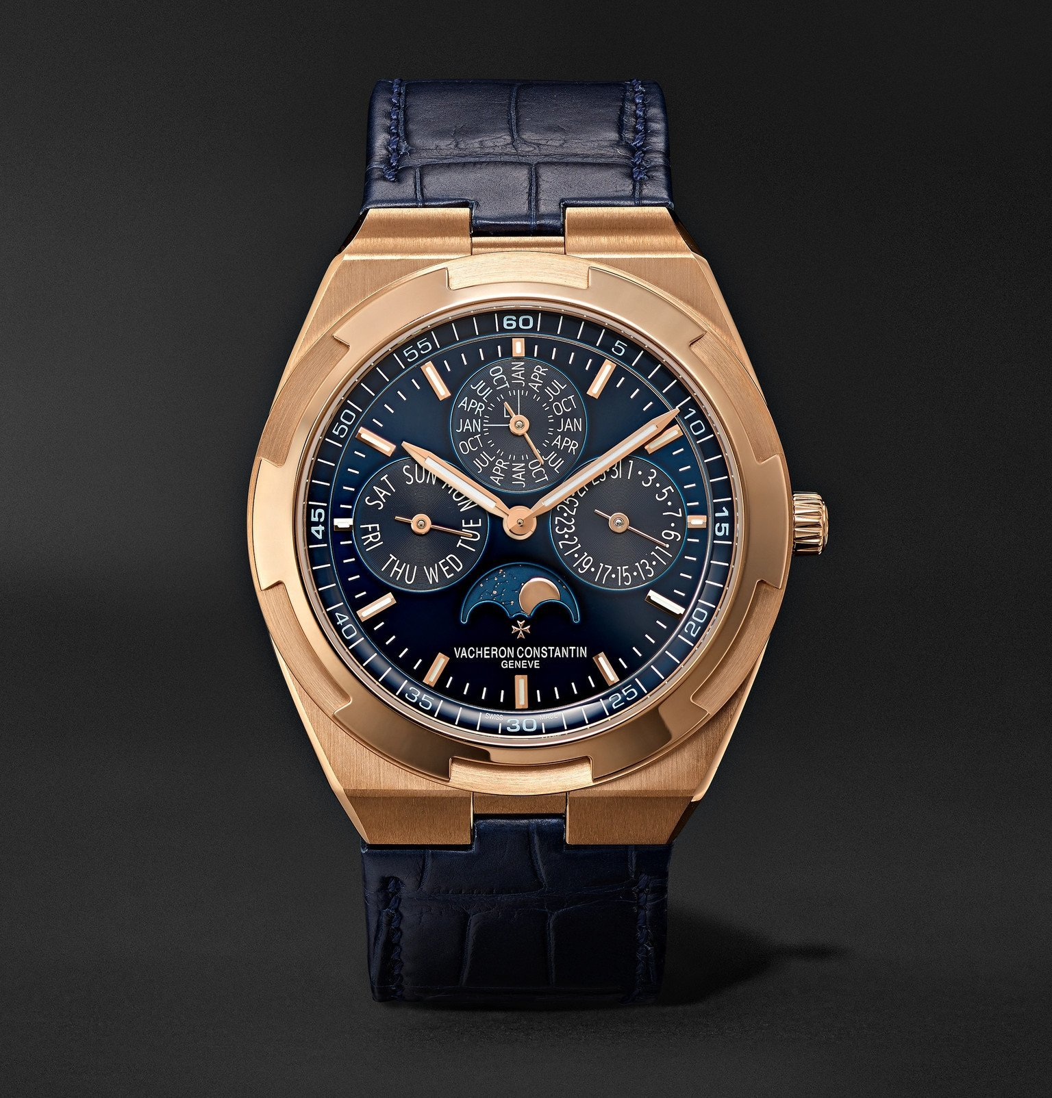 Photo: Vacheron Constantin - Overseas Perpetual Calendar Ultra-Thin Automatic 41.5mm 18-Karat Pink Gold and Alligator Watch, Ref. No. 4300V/000R-B509 - Blue