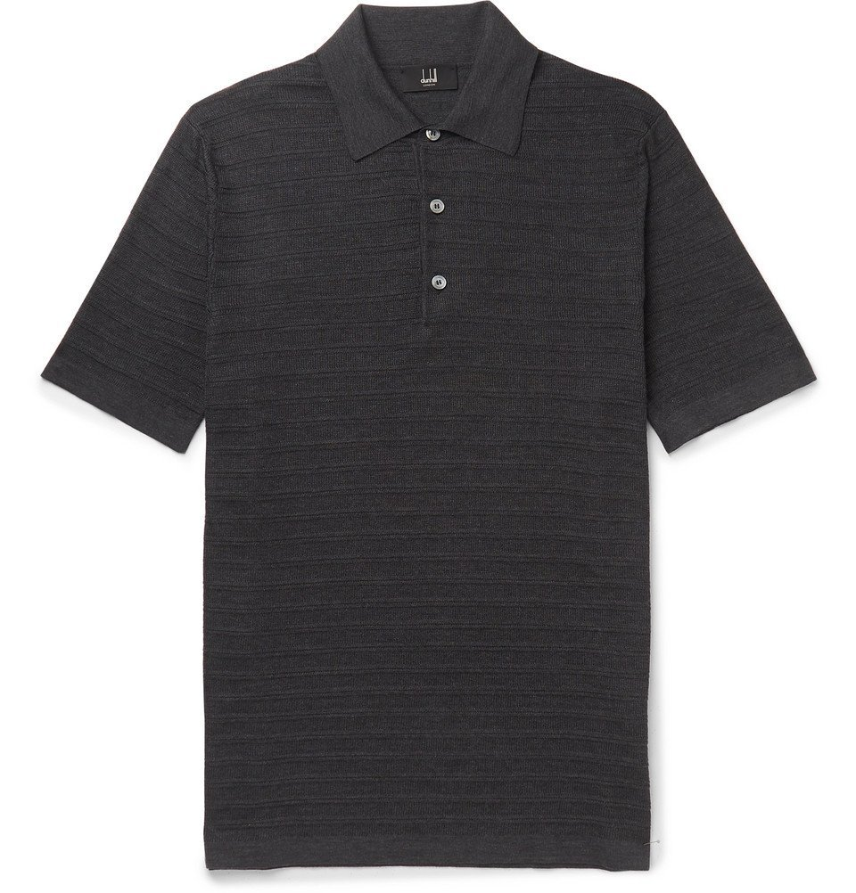 Dunhill - Slim-Fit Striped Knitted Mulberry Silk Polo Shirt - Charcoal