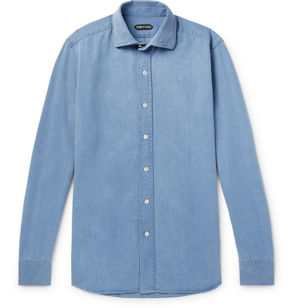 Photo: TOM FORD - Slim-Fit Denim Shirt - Blue