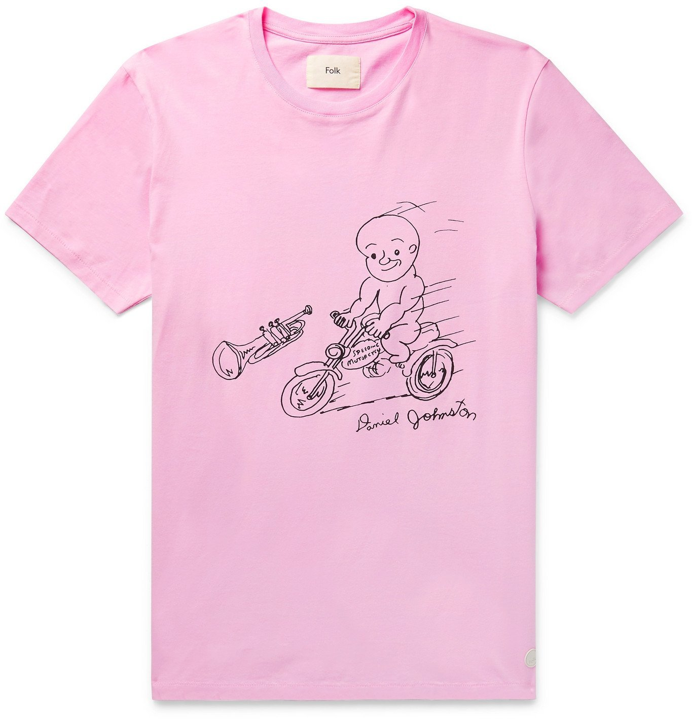 Photo: Folk - Daniel Johnston Love is the Answer Printed Cotton-Jersey T-Shirt - Pink