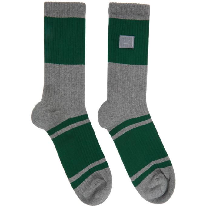 Photo: Acne Studios Grey Patch Striped Socks