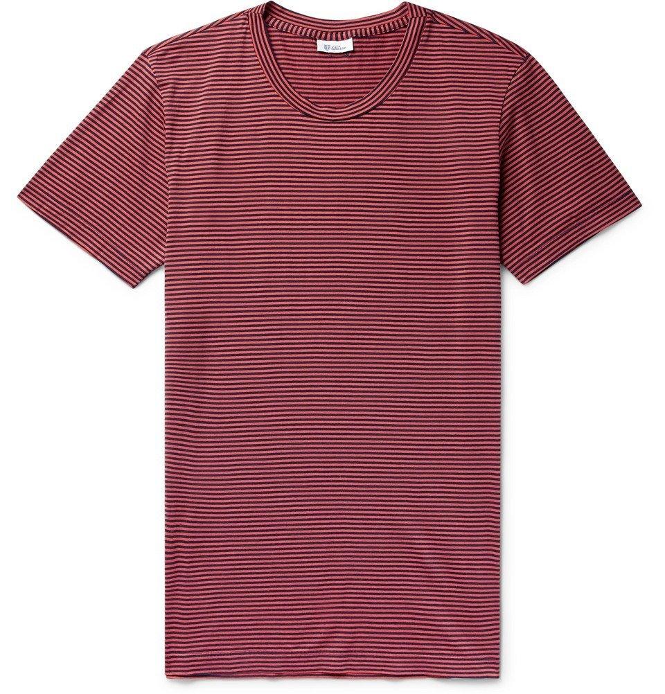 Schiesser - Josef Striped Cotton-Jersey T-Shirt - Burgundy