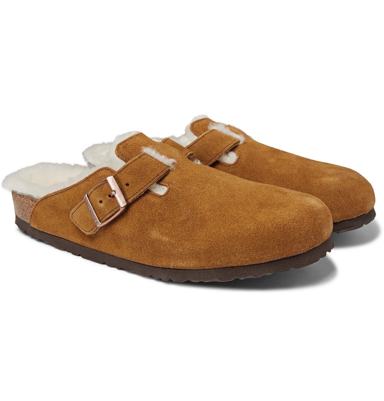 Photo: Birkenstock - Boston Shearling-Lined Suede Sandals - Brown