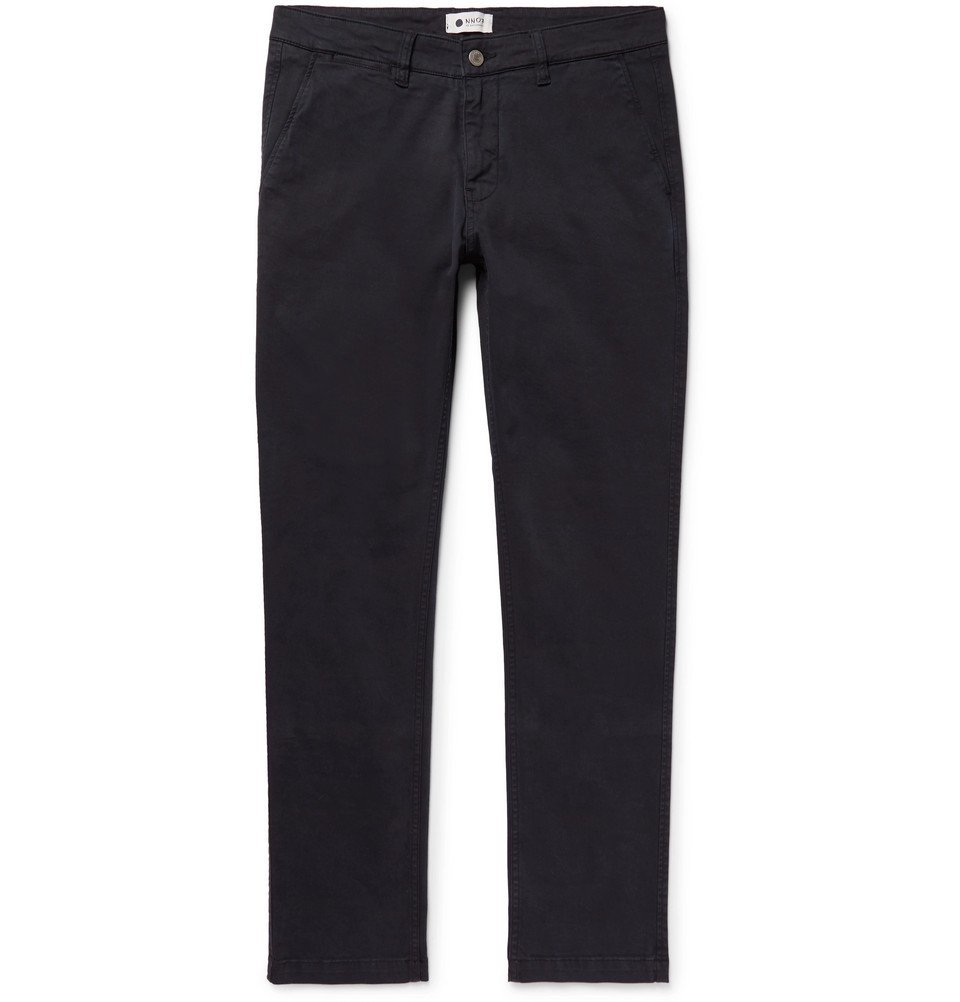 Photo: NN07 - Marco Slim-Fit Stretch-Cotton Twill Chinos - Men - Blue
