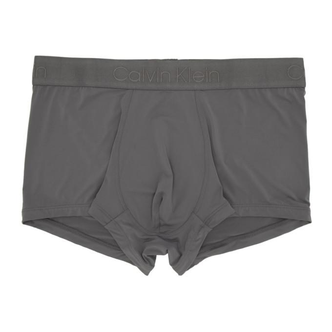 Photo: Calvin Klein Underwear Grey Micro Low-Rise Boxer Briefs
