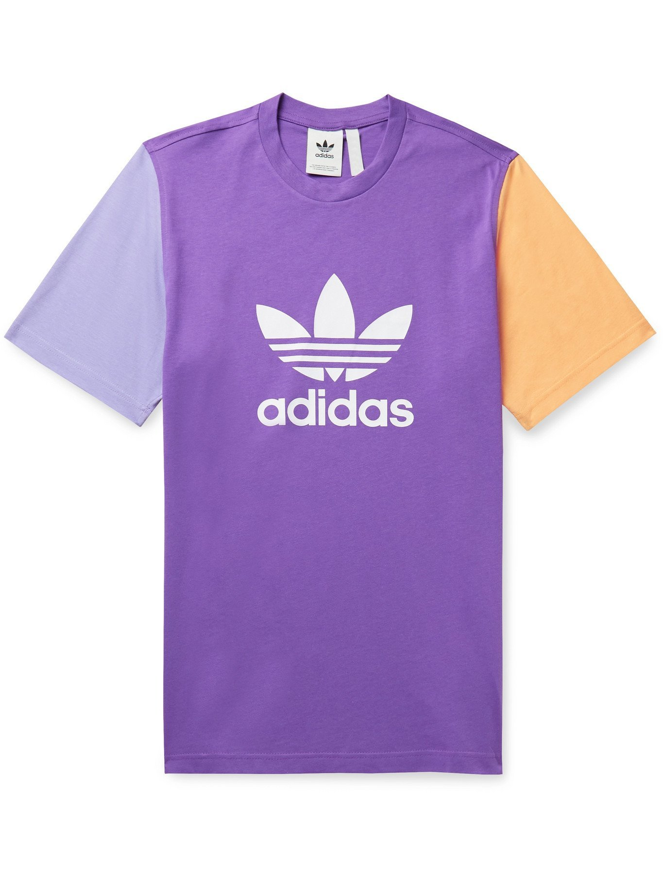 Photo: ADIDAS ORIGINALS - Logo-Print Colour-Block Cotton-Jersey T-Shirt - Purple - L