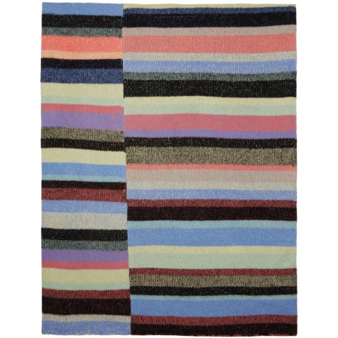 The Elder Statesman Multicolor Cashmere Striped Super Soft Blanket