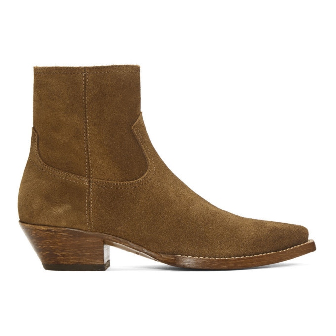 Photo: Saint Laurent Brown Suede Lukas Boots