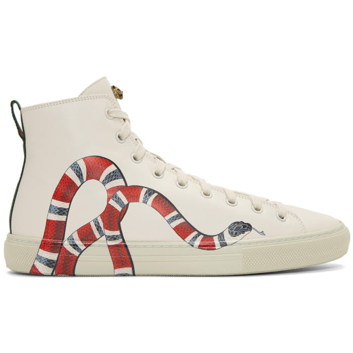 White Snake Major High-Top Sneakers Gucci