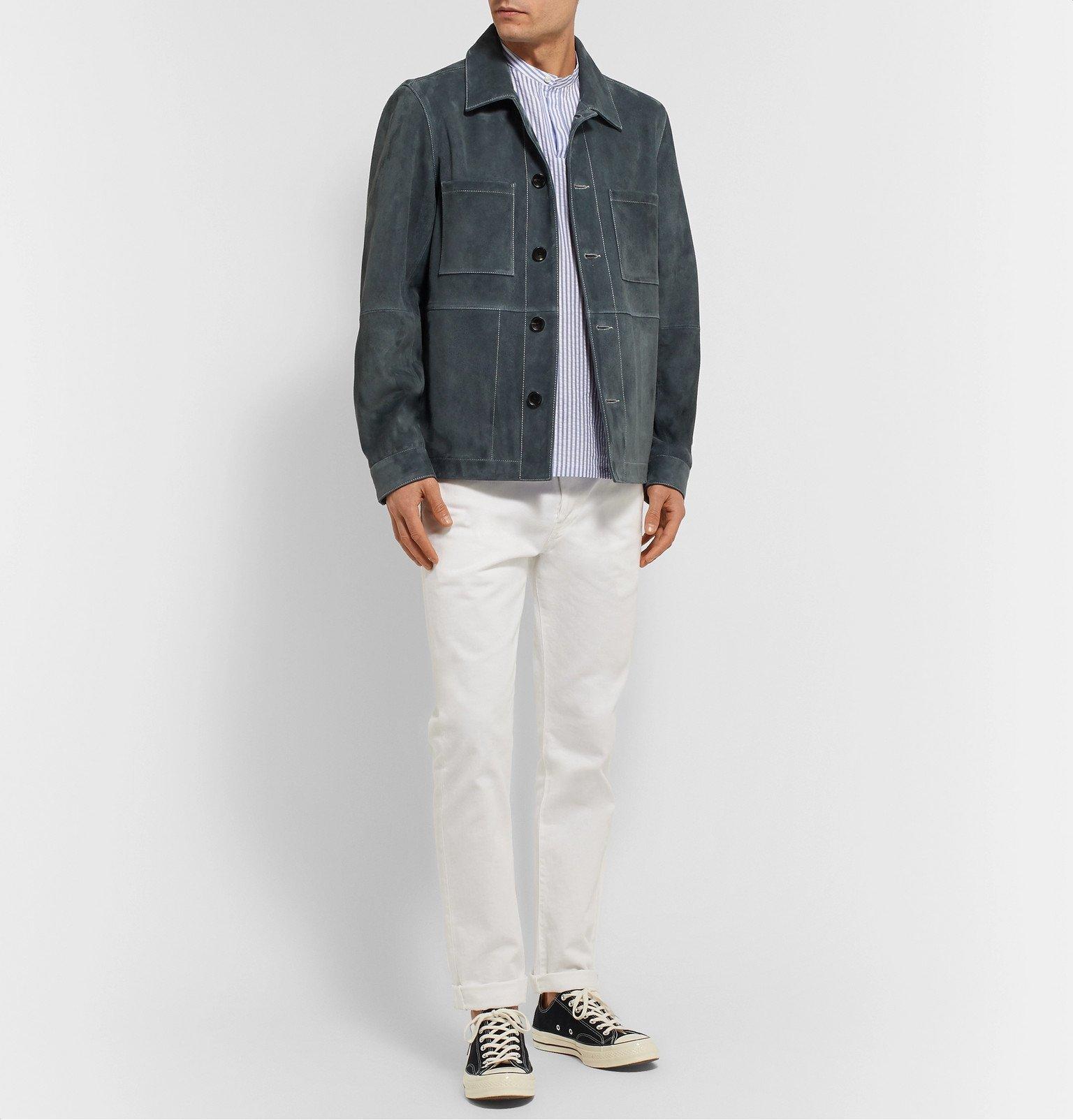 Officine Generale - Tomi Grandad-Collar Striped Cotton-Seersucker Shirt - Blue