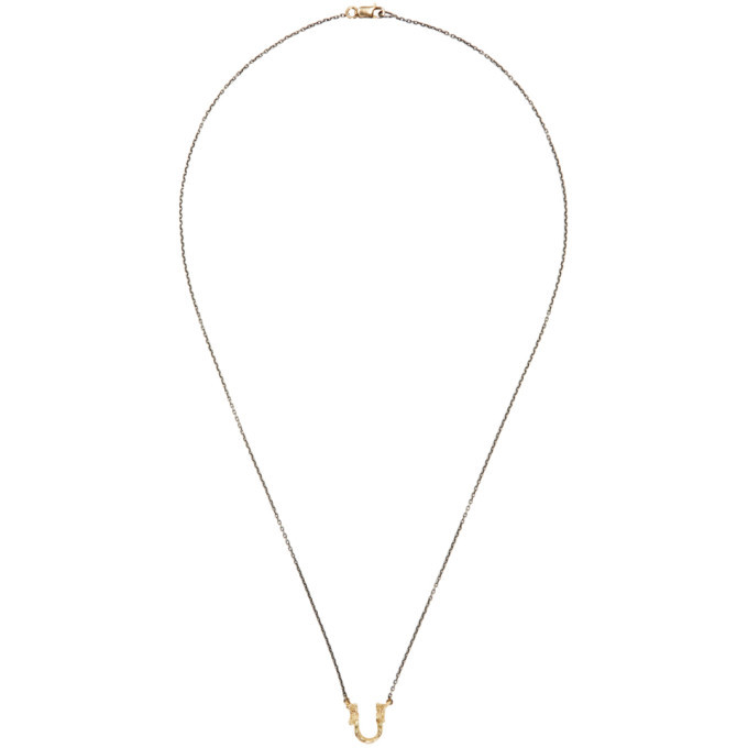 Photo: Pearls Before Swine Silver and Gold Sliced Setting Necklace