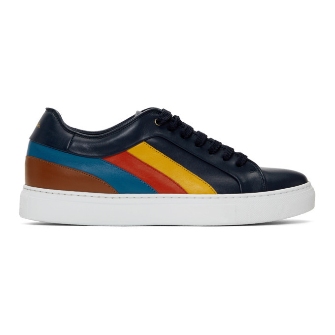 Photo: Paul Smith Navy Multi Stripe Basso Sneakers