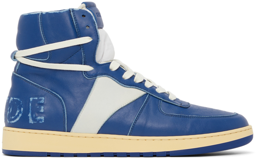 Photo: Rhude SSENSE Exclusive Navy Rhecess Hi Sneakers