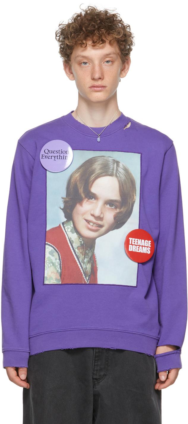 Photo: Raf Simons Purple Distressed 'Teenage Dreams' Sweatshirt