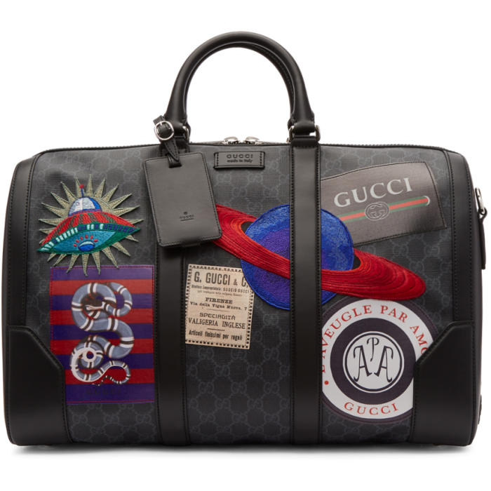 Photo: Gucci Black GG Supreme Patches Duffle Bag