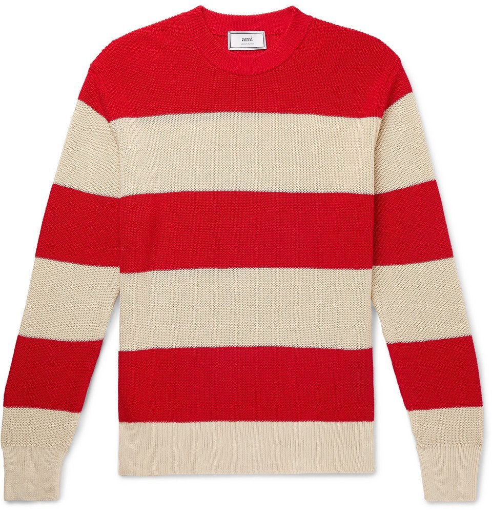 Photo: AMI - Striped Cotton Sweater - Red