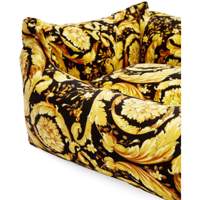 Versace Black Barocco Dog Bed